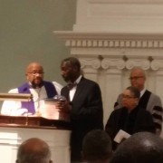 Pastor C Nadir Powell was officially installed on October 18, 2015. Bishop Donald Hilliard Jr is pictured giving him some advice as Pastor Bernadette Glover from St Paul's Baptist Church in Montclair and Rev Dr. Elmo Familiaran of ABC churches look on. Truly it was a blessed service